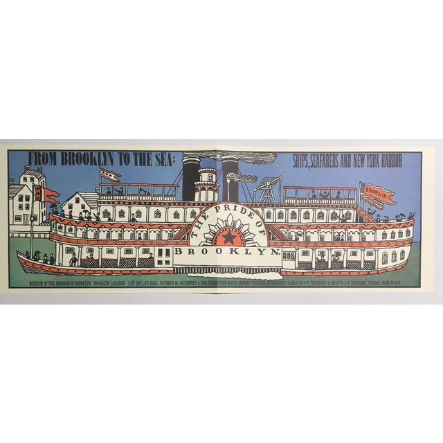 """1980s Mid-Century Modern Print, """"Ships, Seafarers, & New York Harbor"""" by Seymour Chwast For Sale - Image 4 of 4"""