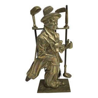 20th Century Figurative Golf Motif Small Brass Fireplace Tool Set For Sale