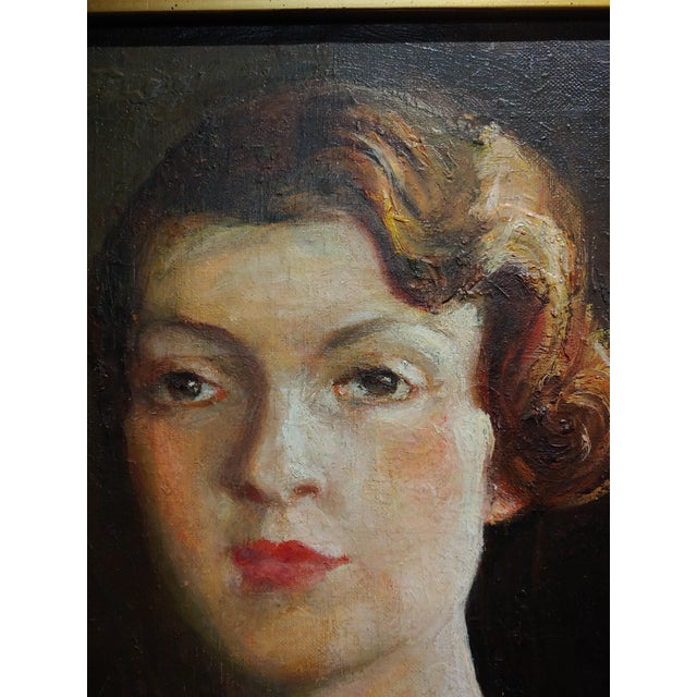 1930s Antonia Greene -1920s Portrait of a Woman in Green -Oil Painting For Sale - Image 5 of 9