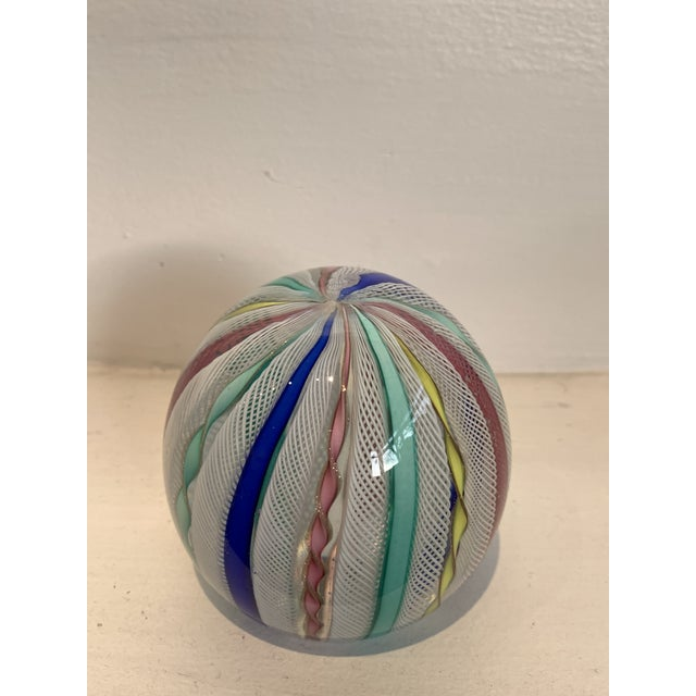 Latticino Glass Italian Paperweight For Sale - Image 10 of 11