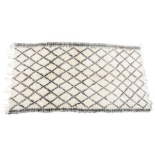 Moroccan Vintage White and Black Beni Ouarain Tribal African Rug For Sale