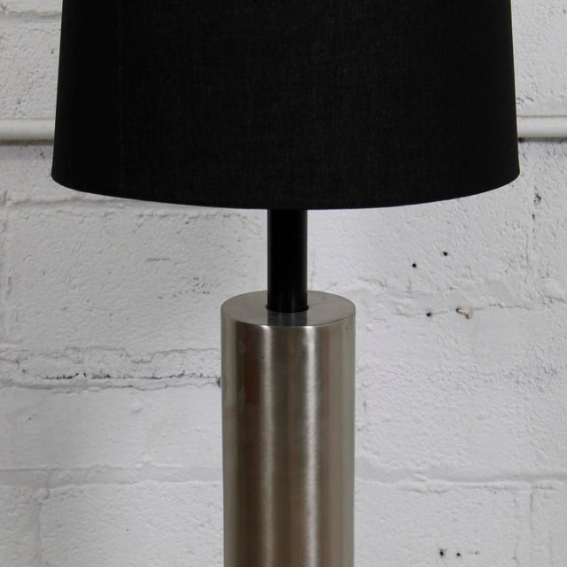 Mid-Century Modern Lamp With a Brushed Chrome Cylinder - Image 3 of 5