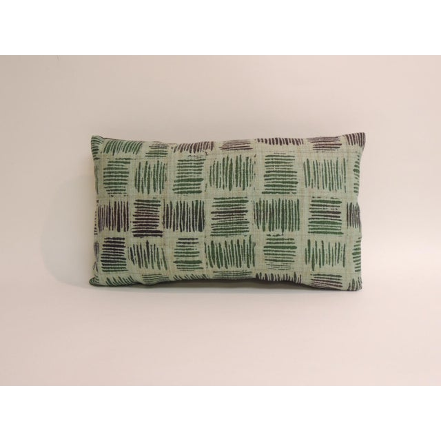 Pair of vintage hand blocked green and brown decorative lumbar pillows with green linen backings. Decorative pillow...