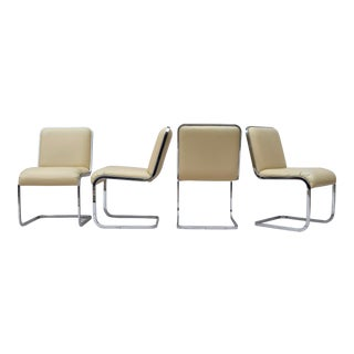1970's Milo Baughman for d.i.a. Chrome Frame Dining Chairs, Set of 4 For Sale