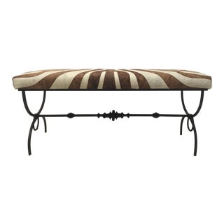 1930s Regency Faux Zebra Bench With Hand Forged Wrought Iron Base