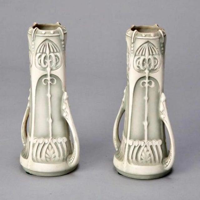 Pair Art Nouveau Pale Green & Cream Ceramic Vases - Image 4 of 5