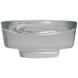 Karl Springer Signed for Venini Clear Murano Glass Dish Bowl For Sale