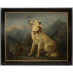 Mid 19th Century 19th Century American Country Ebonized Framed Oil Painting of Seated White Dog at Overlook For Sale - Image 5 of 5