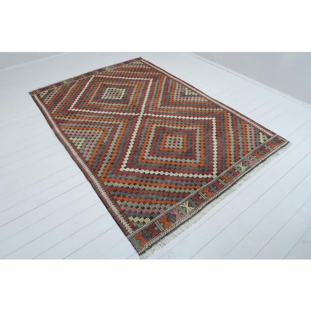 This beautifully embroidered rug from western of turkey. Oushak nomads kilim weaved with traditional Turkish kilim...