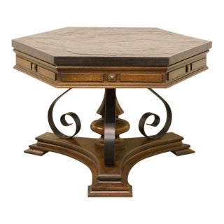 20th Century Spanish Gordon's Furniture Walnut Hexagonal End Table For Sale