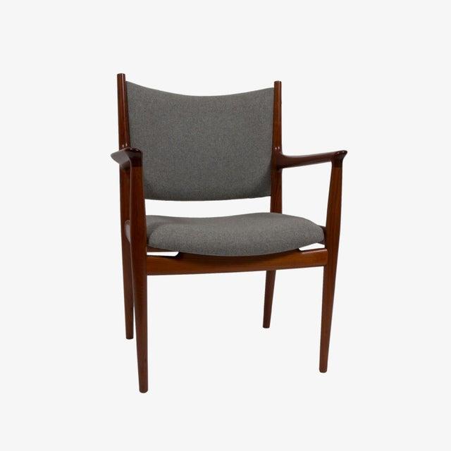 Fabric Pair of Hans Wegner Teak Armchairs For Sale - Image 7 of 7