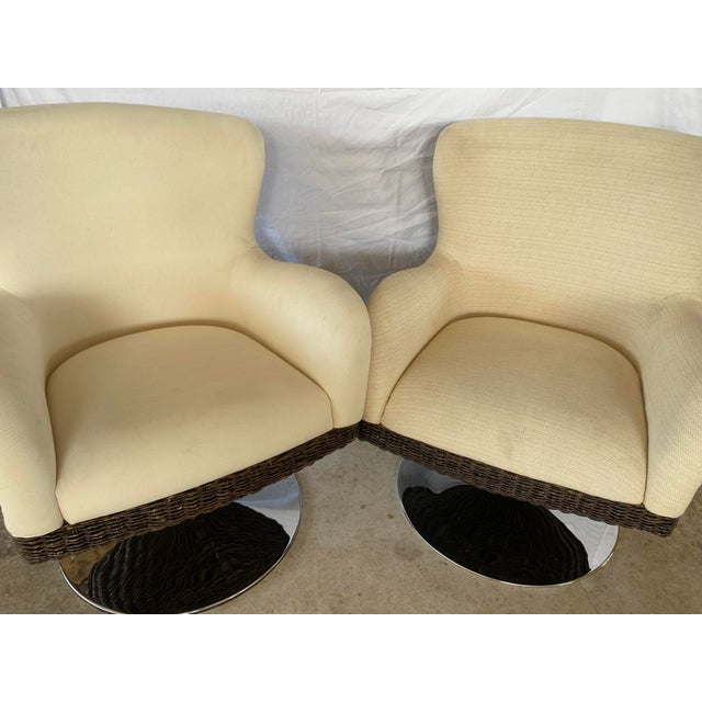 Coastal Palecek Metro Swivel Wing Seagrass and Chrome Chairs - a Pair For Sale - Image 3 of 13