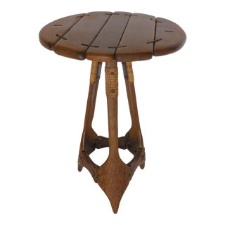 Rustic Palm Wood Side Table For Sale
