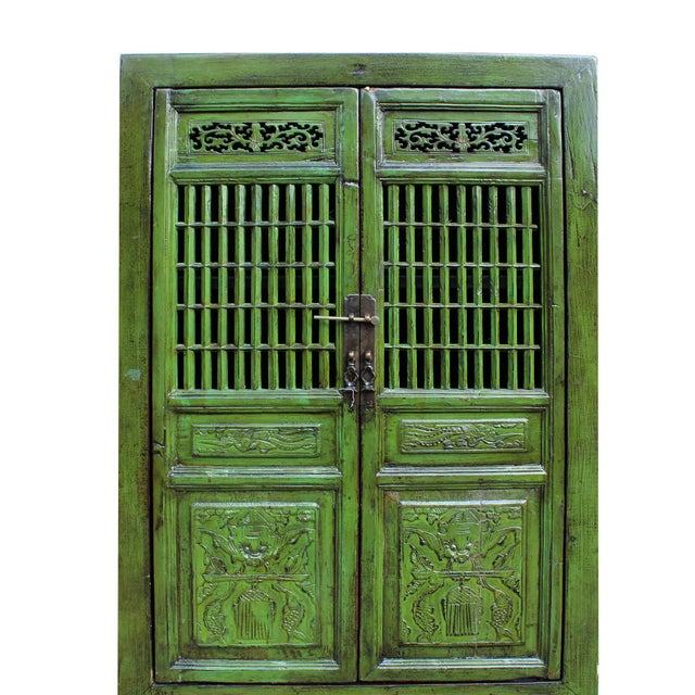 Chinese Distressed Green Narrow Wood Carving Storage Cabinet - Image 4 of 7