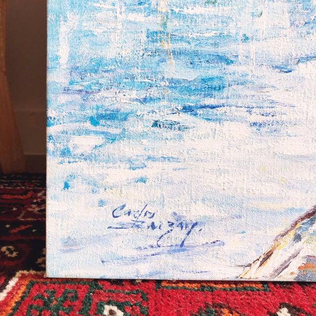 Canvas Vintage Impressionist European Mediterranean Coast Oil Painting For Sale - Image 7 of 9