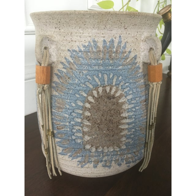 Vintage Mid Century Feather Native American Style Pottery Planter For Sale - Image 12 of 13