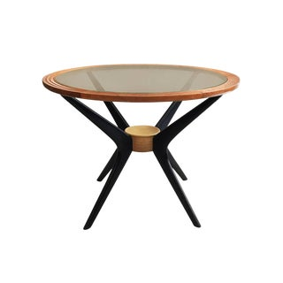 Midcentury Round Wood Side Table With Bronze Glass Top and Ebonized Splayed Legs For Sale