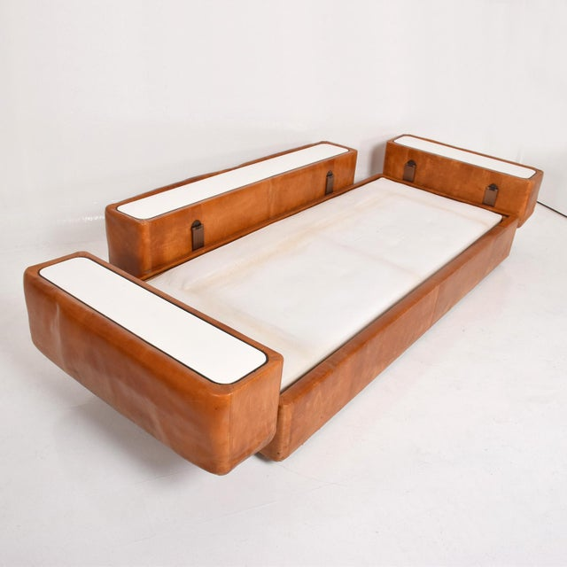 Mid-Century Modern Mid Century Modern Italian Leather Sofa Bed For Sale - Image 3 of 11