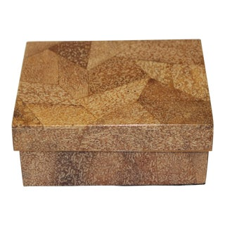 Tessellated Coconut Box by Augousti Paris 1980s For Sale