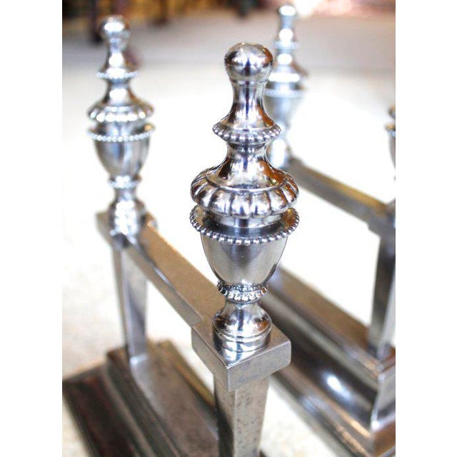 George III Period Polished Steel Fire Dogs - A Pair For Sale - Image 4 of 9