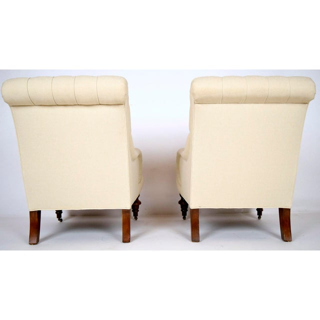 Continental-Style Tufted Bergeres - A Pair - Image 4 of 11
