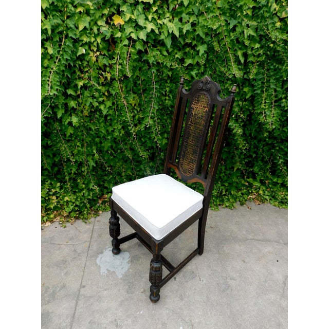 Brown Vintage Spanish Style Cane Back Chair For Sale - Image 8 of 8