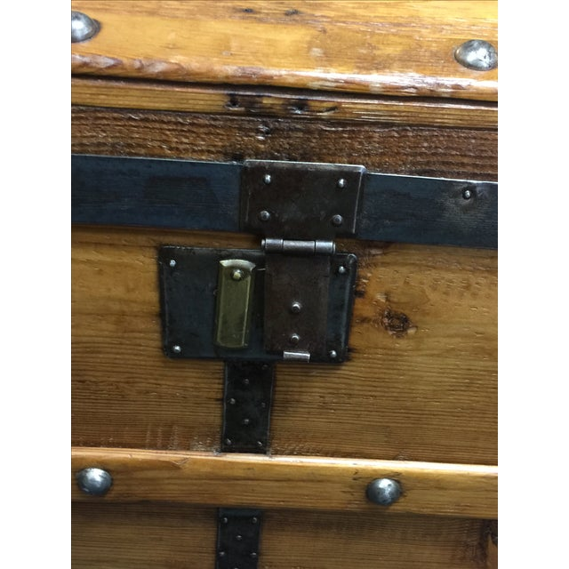 Antique Camelback Wooden Trunk - Image 3 of 6