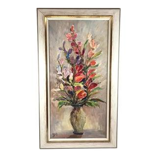 Vintage Mid-Century Parisian Impasto Vase of Flowers Still Life Painting For Sale