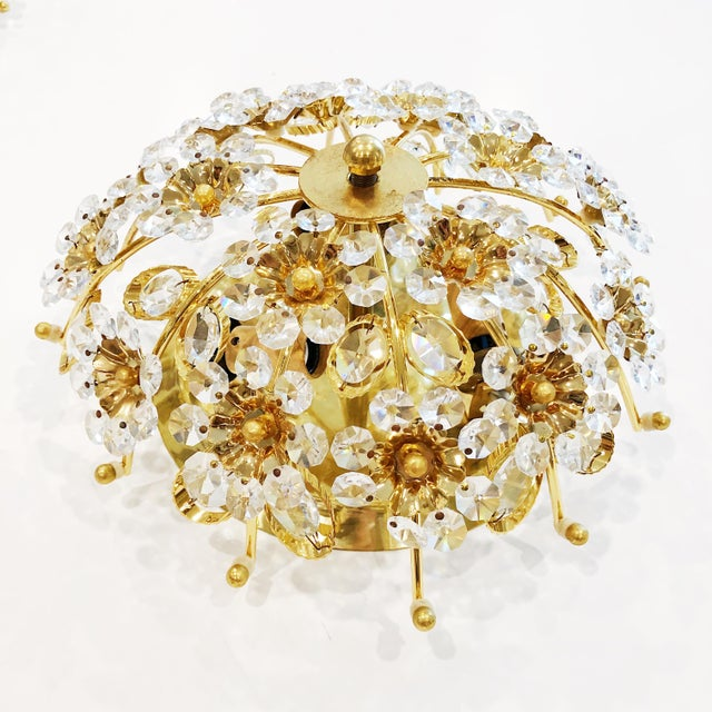 Palwa 1970s Cut Crystal Gilt Brass Flush Mount Ceiling Fixtures by Palwa - a Pair For Sale - Image 4 of 11