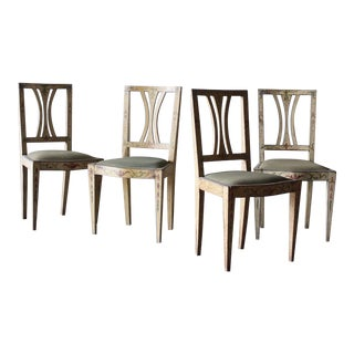 Set of Four 19th C. Painted Italian Adam Chairs For Sale
