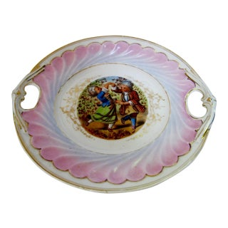 Antique Hand Painted German Children Dancing Decorative Cake Plate For Sale