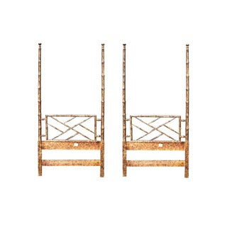 Hollywood Regency Two Faux Bamboo Twin Bed Headboard Set and Mirror in Tortoise Shell by Henredon - 3 Pieces Preview