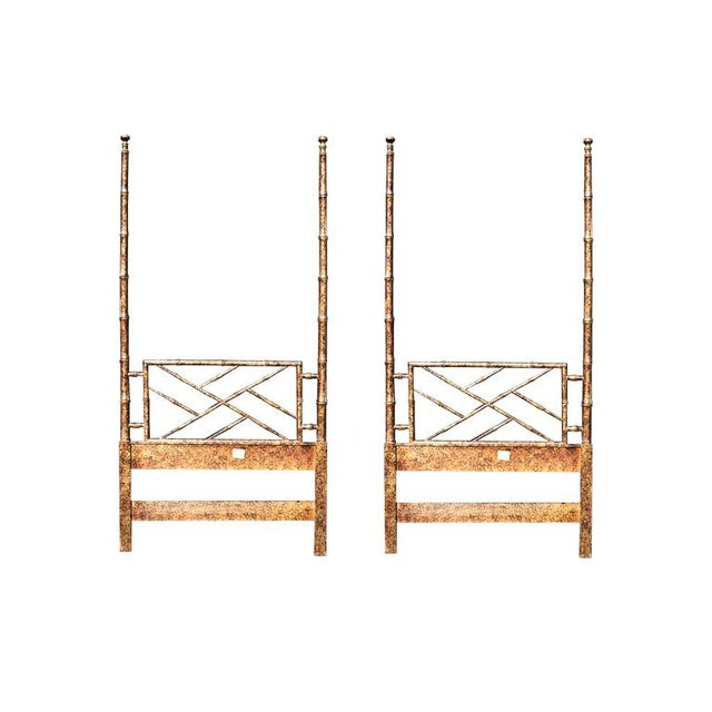 Set of two twin bed headboards in a beautiful faux tortoise shell finish. Each headboard is in a chinoiserie bamboo design...