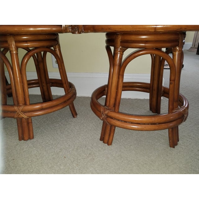 Bamboo Rattan Bamboo Leather Swivel Bar Stools - a Pair For Sale - Image 7 of 13