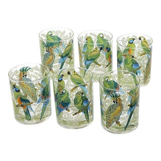 1970s Neiman Marcus Tropical Parrots Tumbler Glasses - Set of 6 For Sale