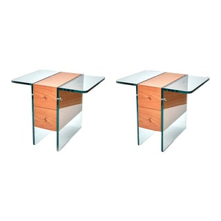 Contemporary Glass Cased Side Tables or Nightstands - a Pair For Sale