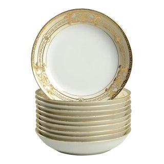 1920s Noritake Encrusted Gold Urn Individual Bowl - Set of 10 For Sale