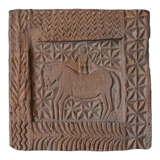 Mid-Century Evelyn Ackerman Style Relief Faux Wood Carving Wall Hanging of Primitive Man on Horse For Sale