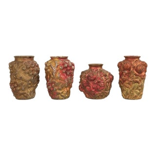 Collection of Four Early Examples of Goofus Glass in the Form of Vases For Sale