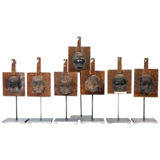 Decorative Metal Doll Head Molds Objet de Virtu on Custom Stands For Sale