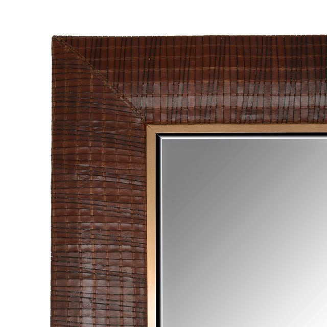 """•Hand Woven Italian Leather Laura Weave • 1 ¼"""" Beveled Mirror • 4"""" wide leather frame • Hand-stitched corners •..."""
