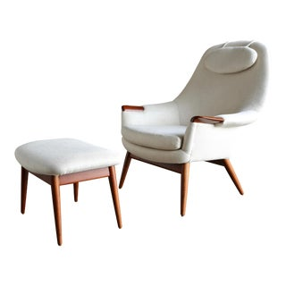 Mid Century Gerhard Berg Lounge Chair and Ottoman -a Pair For Sale