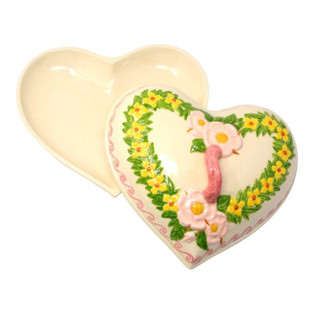 Vintage Heart Shaped Hand Painted Ceramic Tureen / Lidded Bowl For Sale