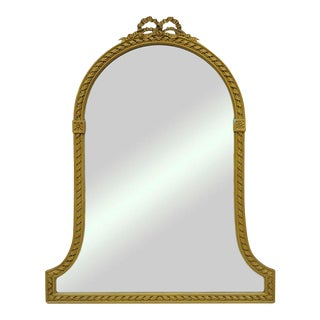 French Adam Louis XVI Arched Ribbon Crest Gold Wood & Gesso Dresser Wall Mirror For Sale