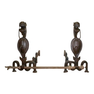 Early 20th Century Folk Art Andirons With Chain Mouthed Griffins and Cross Bracket Poker - a Pair For Sale