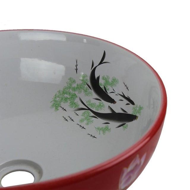 """Modern Red & White Motif Sink Bowl Material Porcelain Size L16.11"""" X W16.11"""" X H6.2"""""""