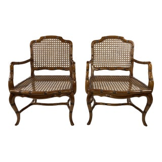 French Provincial Caned Armchairs, Pair For Sale