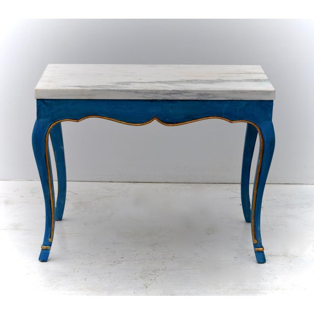 A stunning Louis XV styled Italian made marble top end table having an unusual and lustrous Mediterranean painted finish...