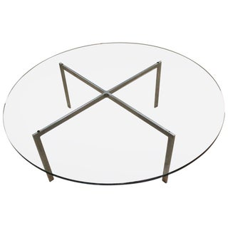 Mies Van Der Rohe Mid-Century Modern Round Barcelona Coffee Table For Sale