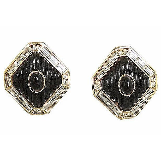 Dior Black Lucite & Faux-Onyx Earrings, 1984 For Sale In Philadelphia - Image 6 of 8